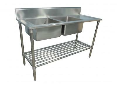 1500 x 600mm NEW COMMERCIAL DOUBLE BOWL KITCHEN SINK #304 STAINLESS STEEL BENCH