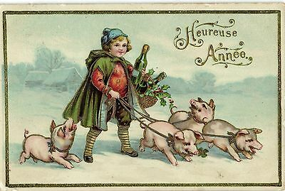 happy new year girl with champagne and little pigs cute vintage postcard