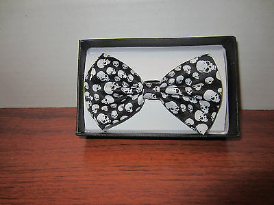 Black And White Skull  Bow Tie Tuxedo Dress Bow Tie With  Adjustable Strap