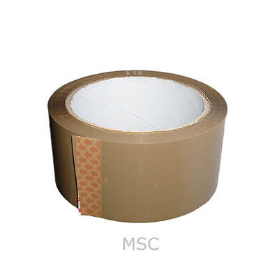 12 Rolls of 48mm x 66m Parcel Tape Brown Packing Supplies Postage Delivery