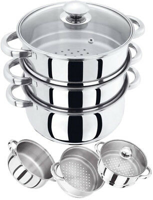 3 Tier Induction Hob Stainless Steel 22Cm Steamer Pot Pan Cooker Set Glass Lid