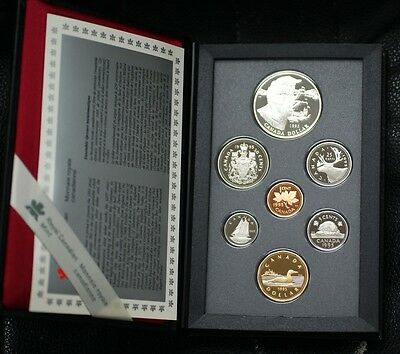 1995 Canada Proof Set, 7 Gem Coins, in Leather Case, Double Dollar Set, No Box