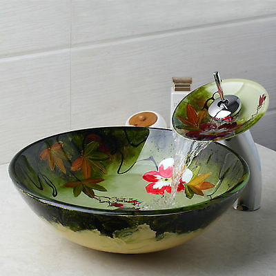 Victory Hand Paint Flower Washbasin Tempered Glass Sink With Brass Faucet DD98RT