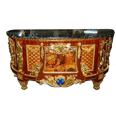 Louis XVI Cabinet, Antique, with Inlaid Wood and Marble Top #7554