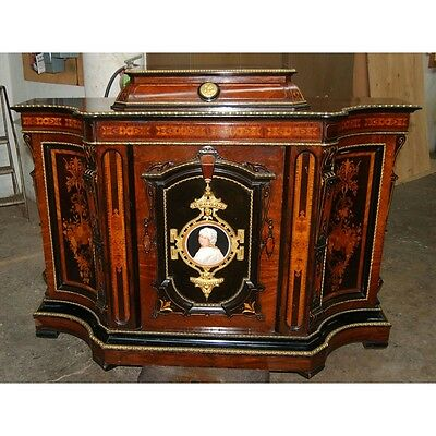 7496 Antique Carved Cabinet with Painted Plaques Stamped PS (Pottier & Stymus)