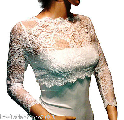 Ladies PALE Ivory/Black/ White Lace Bridal  Bolero, Jacket Sizes 8 to 18 UK