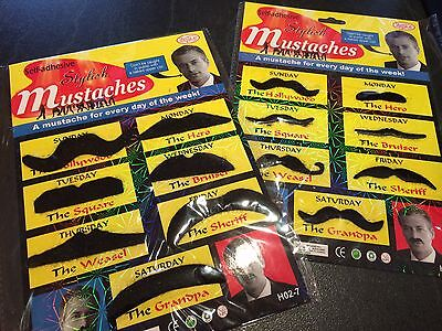 Fake moustaches thick or thin self adhesive mustache costume party dress up 70's