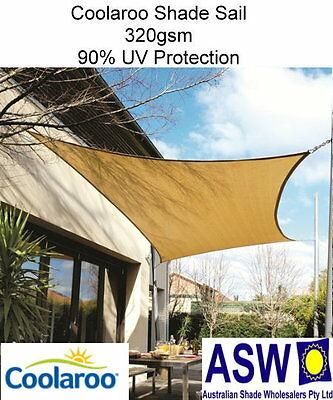 5m x 3m Rectangle SHADE SAIL Coolaroo Extreme DESERT SAND Shadecloth SSC53RDS