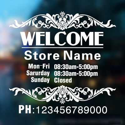 Custom Vinyl Lettering TRADING HOURS STORE NAME sticker decal business shop sign