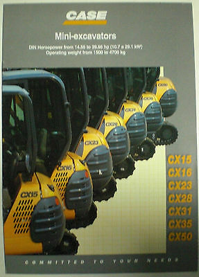 Case Mini - Excavators Cx15 - Cx50 Plus Bagger Sales Brochure Prospekt Englisch