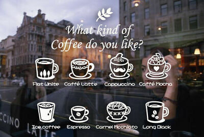 Coffee Cafe Cake Restaurant Shop Window Sticker Decal Vinyl Sign Lettering Decor