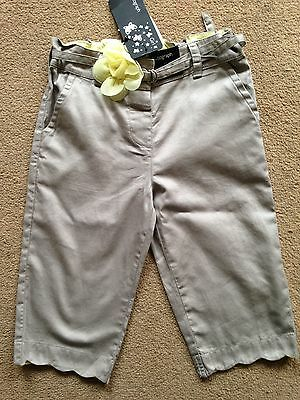 BNWT M&S Autograph Grey Cropped Trousers Flower Belt 2-3 Years