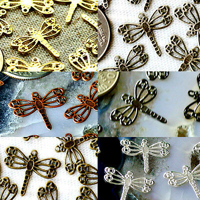 Solid Brass Filigree Dragonfly Embellishment Charms Finding 14.5mm