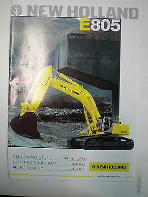 New Holland E805 Bagger Prospekt Sales Brochure Englisch