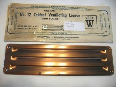"Vtg NOS Antique COPPER Louvered VENT Kitchen Sink Trailer Fridge 10-3/8""X 2-7/8"""