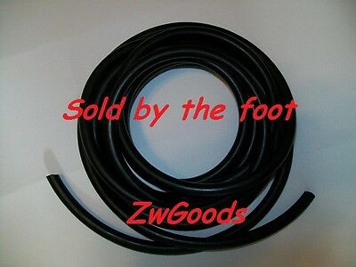 "By The Foot 1/16"" I.D x 1/32""w x1/8 OD Latex Rubber Tubing Black Surgical"
