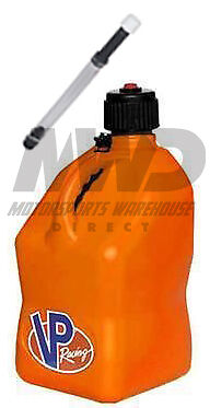 VP Racing Orange 5 Gallon Square Fuel Jug/Deluxe Fill Hose/Water/Jerry Gas Can