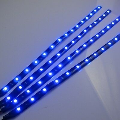 4x 30cm/15LED SMD 3528 Blue Flexible Led Strip Light Waterproof DC 12V Car Auto