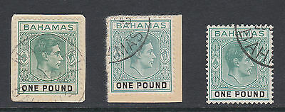 BAHAMAS 1938-52 £1 ALL THREE SHADES SG 157-157b FINE USED.