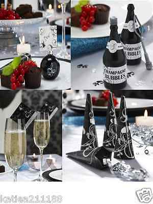 wedding engagement party black white ornate swirl place card bubbles poppers