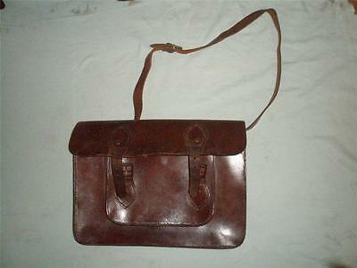 SUPERB BROWN LEATHER SCHOOL SATCHEL. (well used)