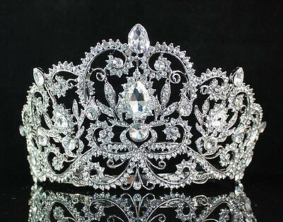 Victorian Clear Rhinestone Crystal Tiara W/ Hair Combs Bridal Prom Pageant T1505