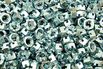 (100) Slotted Hex Castle Nuts 9/16-18 Thread Zinc Plated