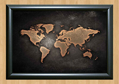 World Map Old Antique Leather Style A4 Print Poster Photo Ready to Frame 210x297