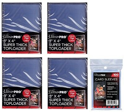 Lot of 100 Ultra Pro 75 Point Toploaders 100 Regular Sleeves Free Shipping NIB