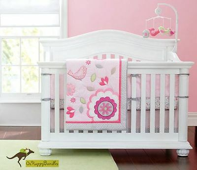New Baby Girls 7 Pieces Cotton Nursery Bedding Crib Cot Sets--Happy Pink Birds