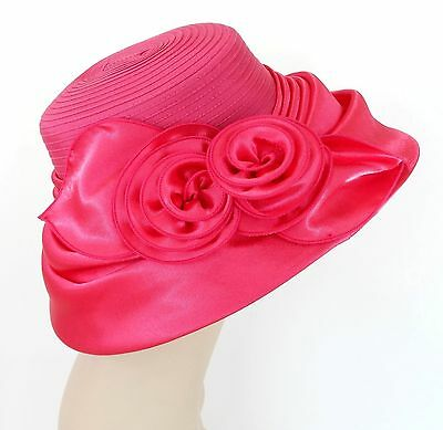 New Woman Church Derby Wedding  Vintage satin Gold Dress Hat 2499 Hot Pink