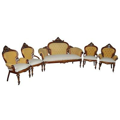 American Victorian Parlour Set, by Gustave Herter, 5-pc. #7114