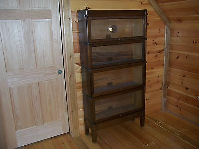 Globe Wernicke Antique Oak Barrister 4 Section Stacking Bookcase Mission Oak