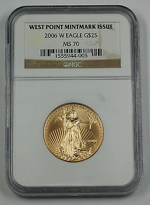 2006-W $25 1/2 Oz American Gold Eagle Coin NGC MS-70 AGE