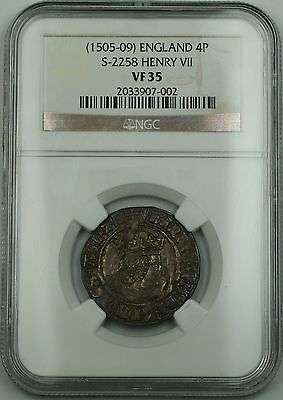 (1505-09) England Silver Groat Fourpence 4P Coin S-2258 Henry VII NGC VF-35 AKR