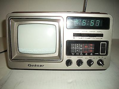 Vintage  Quasar Portable Television, FM/AM ,Weather Band Radio w Digital Clock