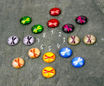 12mm Colorful Dragonfly Handmade photo glass Cabochon GH31(12pcs) PICK