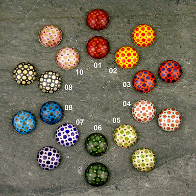 Colorful Bubble Dots Pattern Handmade Photo Glass Cabochon 12mm GH04(12pcs) PICK