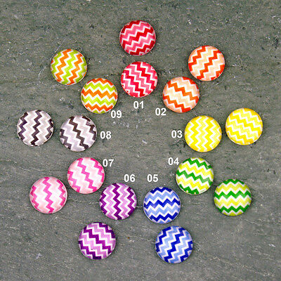 12mm Colorful Chevron Pattern Handmade Glass Cabochon Photo GH01(12pcs) PICK