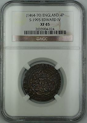 (1464-70) England Silver Groat Fourpence 4P Coin S-1995 Edward IV NGC XF-45 AKR