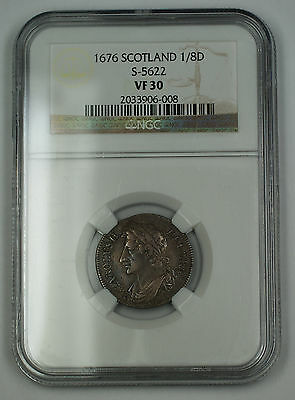1676 Scotland 1/8 Dollar Silver Coin S-5622 Charles II NGC VF-30 AKR
