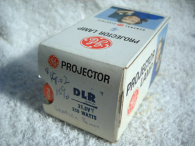 **GE DLR 21.5v 250w PROJECTOR LAMP NOS IN ORIGINAL BOX POSSIBLE GRAFLEX 16mm**