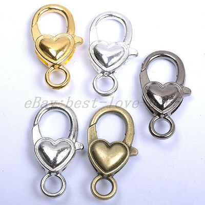 10Pcs Gold Silver Plated Bronze Copper & Shiny Charms Heart Lobster Clasps 25MM