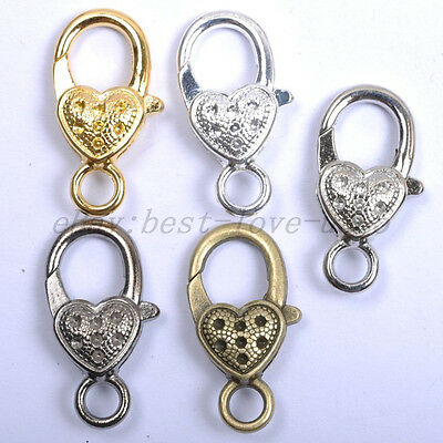 10Pcs Gold Silver Plated Bronze Copper & Dots & Charms Heart Lobster Clasps 25MM