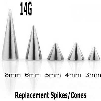 10 Spare Surgical Steel Threaded Spikes Cones Body Piercing Parts Mix Sizes 14g