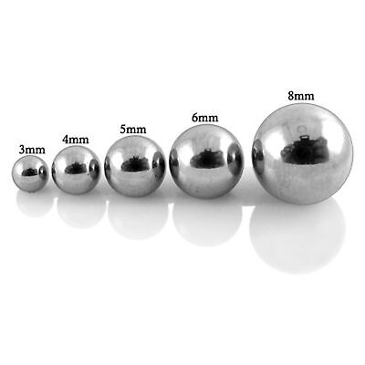 5 Spare Threaded Balls Surgical Steel Body Piercing Barbell Parts Mix Sizes 14g