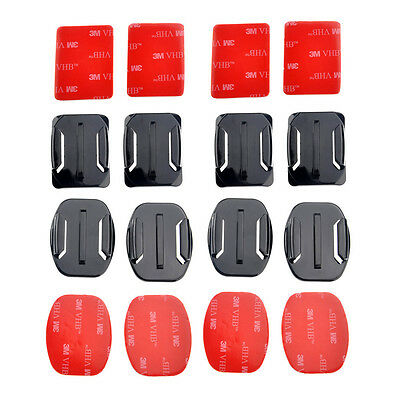 8pcs Flat Curved Surface Mounts + 3M Adhesive for Go Pro GoPro HD Hero 1 2 3 3+