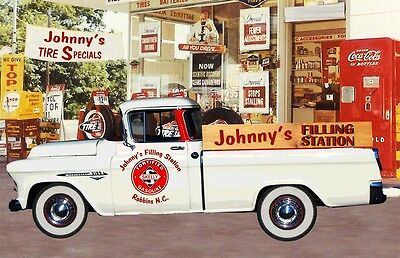 Personalized Vintage Style  Gas and Oil  Cassic Chevy Truck Garage Art Print