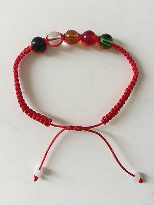 Feng Shui Red String  Bracelet With 5 Five Element Crystal Beads