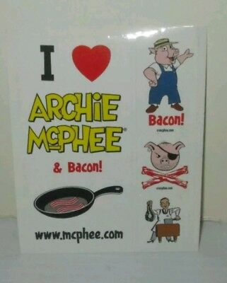 Archie Mcphee Funky Novelty Retailer Promo Sticker Sheet I Love Bacon